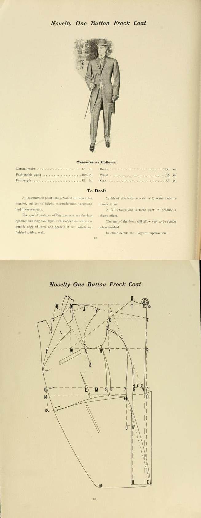 1907 Men's Novelty one button frock coat