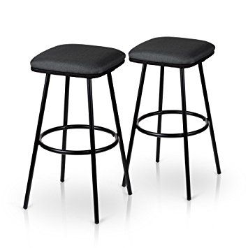 iKayaa 2pc Metal Bar Stools High Stool with Footrest Counter Pub Stool Fabric Seat Kitchen Breakfast Bar