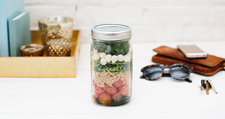 Glass canning jars make salads beautiful and fun to take along. Let's kick off National Salad Month with this sweet little lunch salad — jus