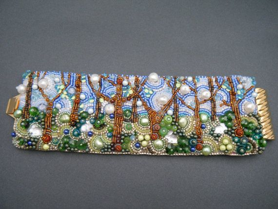 stunning cuff bracelet, bead embroidery, bubble trees