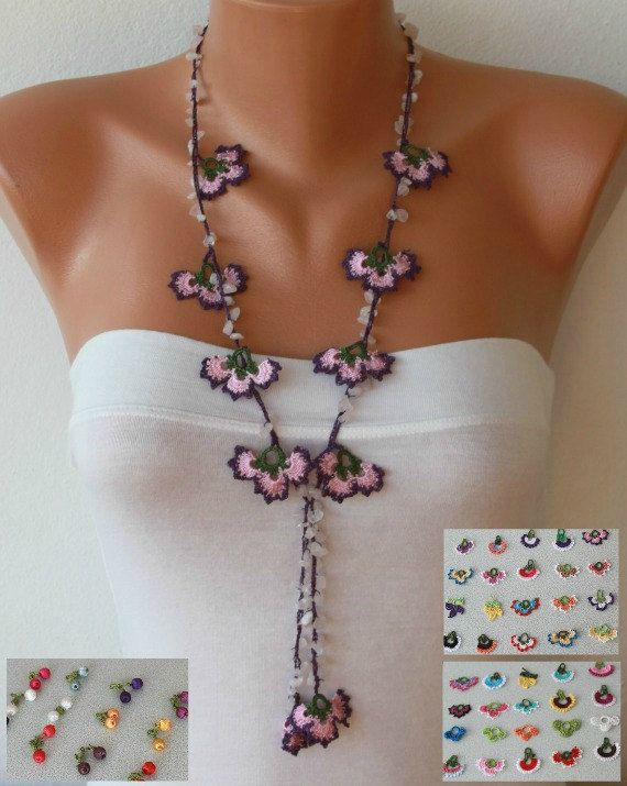 Crocheted Flower Necklace Oya  with semiprecious by fatwoman, $24.00