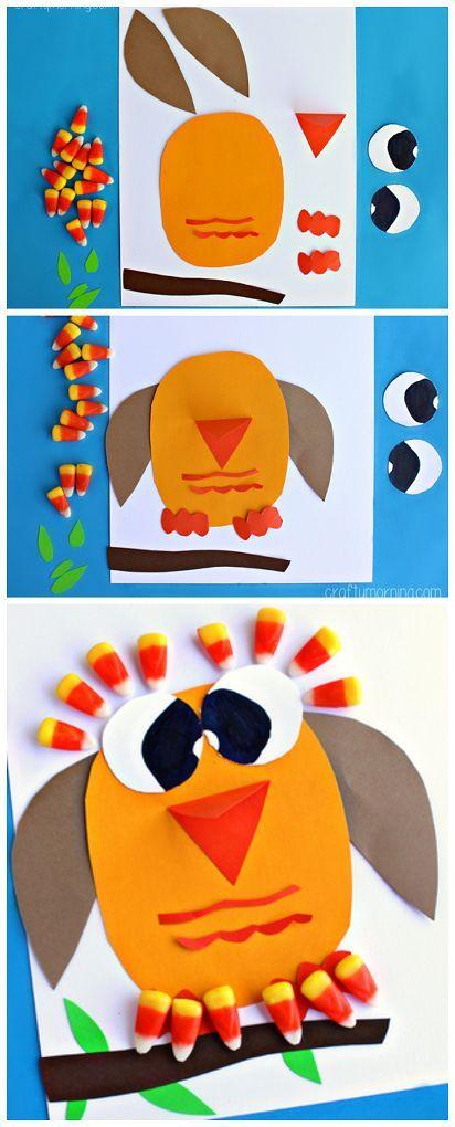 Candy Corn #Owl Craft - Great fall craft for kids to make! | CraftyMorning.com  #kidscraft #preschool