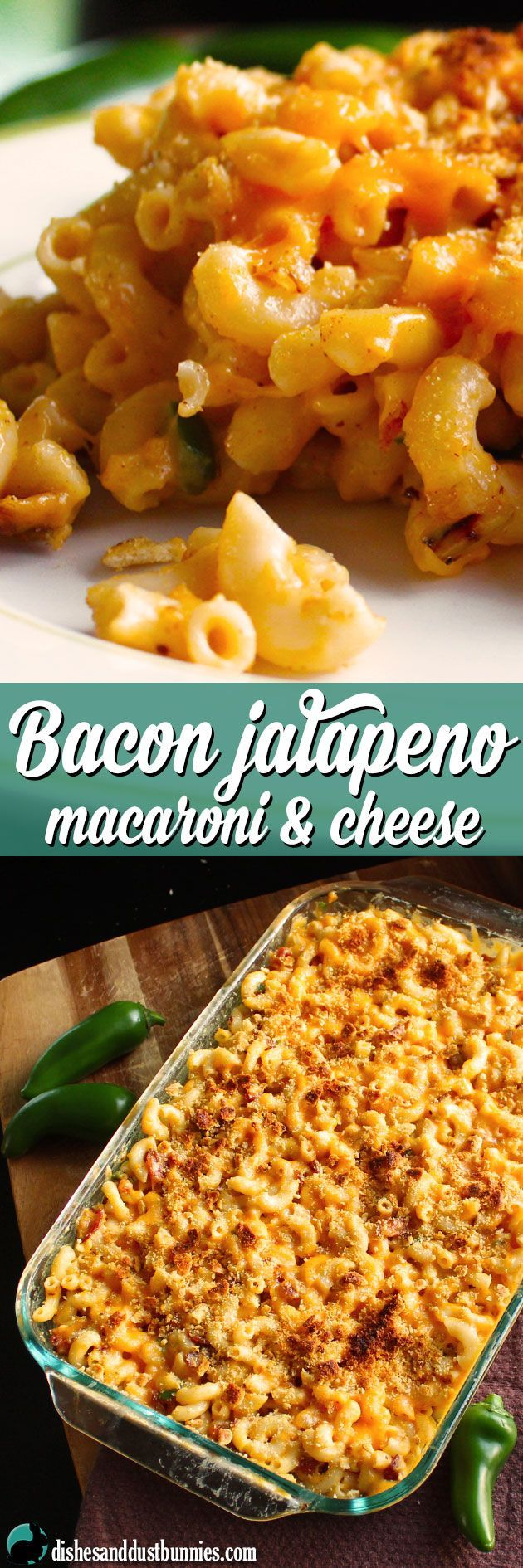 Bacon Jalapeno Macaroni and Cheese from dishesanddustbunnies.com