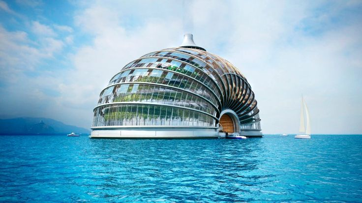 The floating hotel is made of a durable transparent foil, not glass