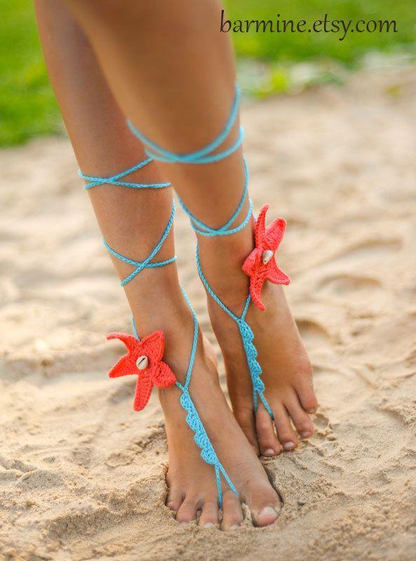 Koraal en Aqua Starfish schelpen haak Barefoot Sandals bruids