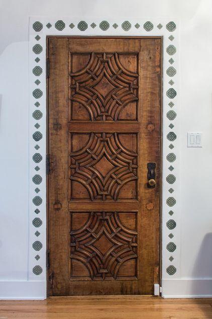Door And Tile Around Door Salvaged Tile Is Inset Into The