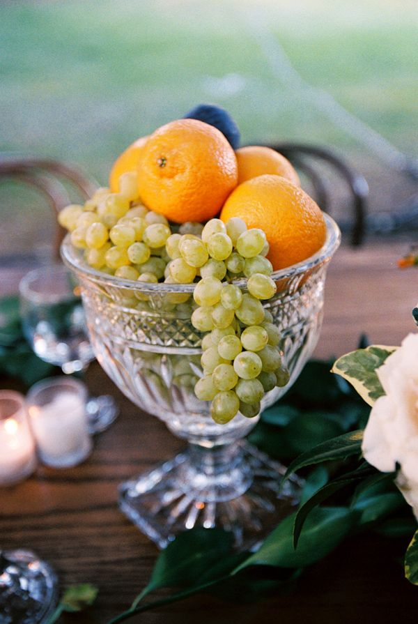 fruit and crystal wedding tabletop photo by Yvette Roman Photography