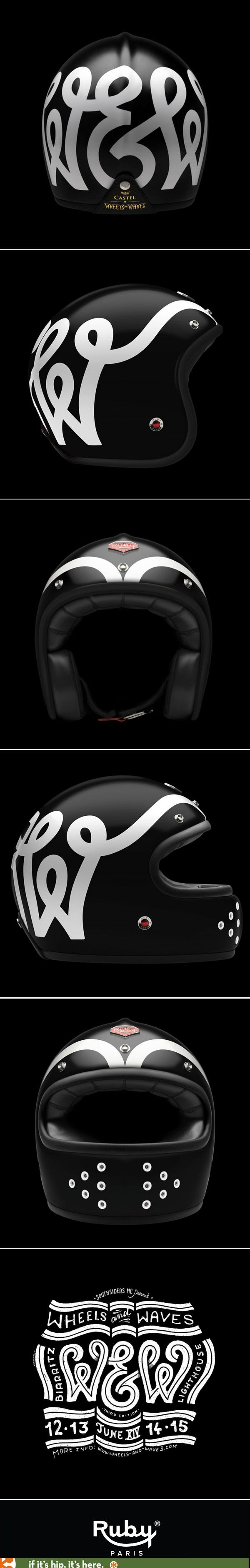 Limited edition Ruby Atelier X Wheels and Waves Motorcycle Helmet with typographic design by Steven Burke