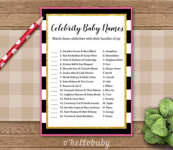 Celebrities Baby Names Baby Shower Game  Black White by ohellobaby