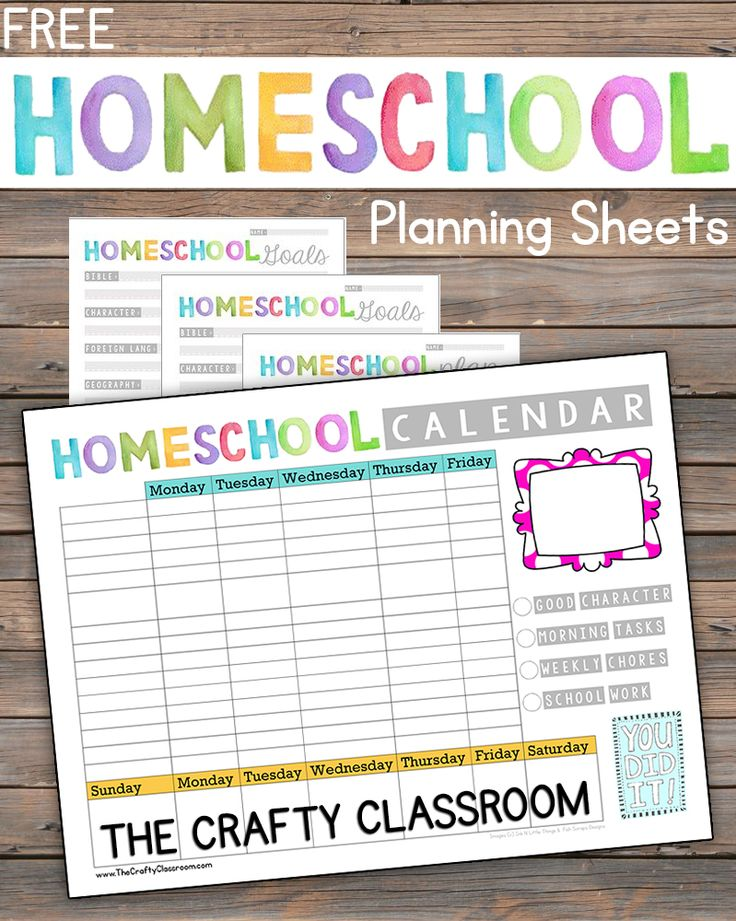 Free Simple Homeschool Planning Pack.  Includes Goals, Subject Planner, and Weekly Calendar.  Great for fostering independence in students. http://thecraftyclassroom.com/2015/08/23/free-homeschool-planning-printables/
