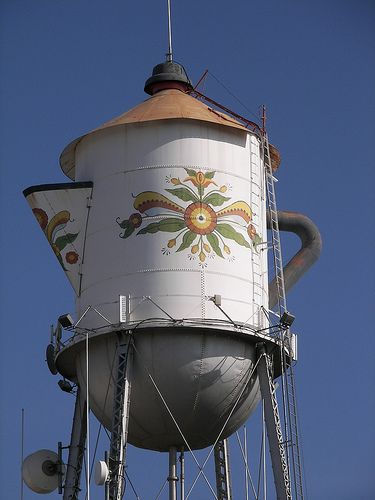 Kingsburg, California, celebrates its Swedish settler heritage with a community festival and a coffee pot water tower.