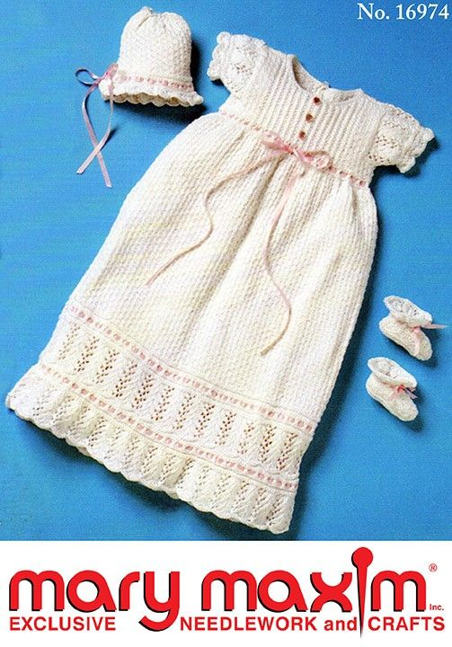 Knit this Christening Outfit using Mary Maxim Cone Cotton.