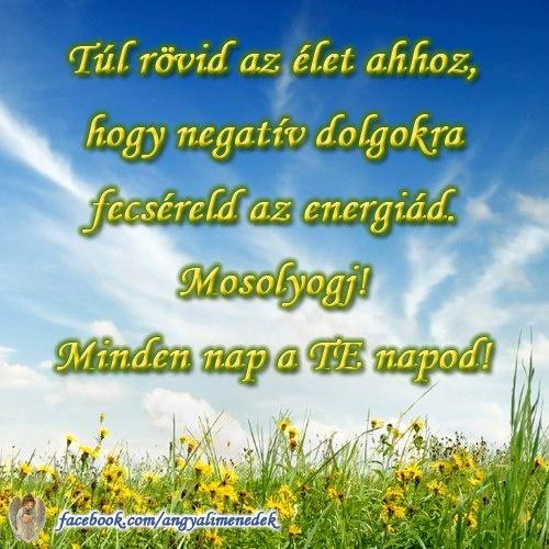 Túl rövid az élet ahhoz, hogy negatív dolgokra fecséreld az energiád. Mosolyogj! Minden nap a TE napod! # www.facebook.com/angyalimenedek