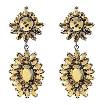 Talullah Tu - Gold Starburst Jewel Statement Earrings