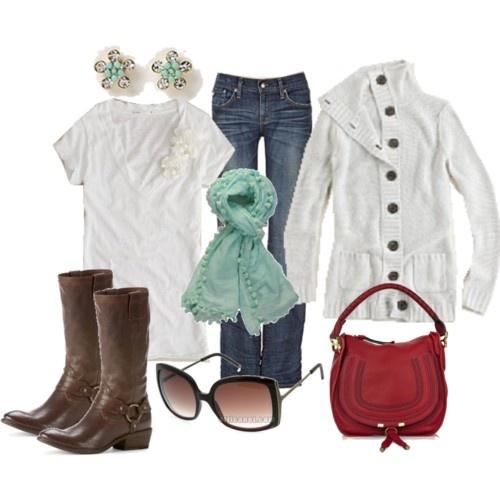 clothes: White Winter, Outfit Ideas, Fashion Style, Color, Cute Outfits, Fall Outfits, Winter Outfits, Scarf