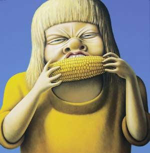 Sarah Eating Corn by Michael Smither