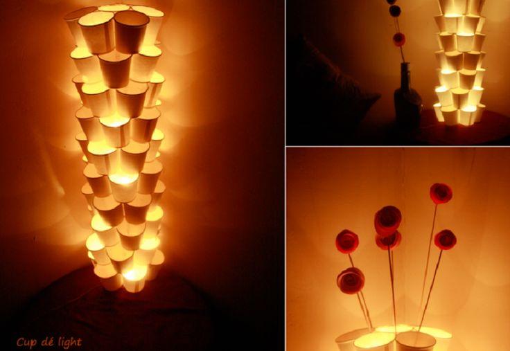 lampe de gobelet de papier bricolage cr ation r cup pinterest. Black Bedroom Furniture Sets. Home Design Ideas