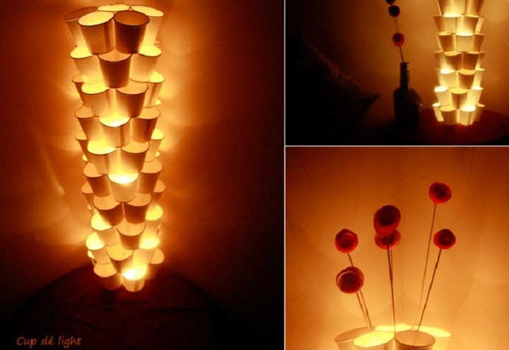 lampe de gobelet de papier bricolage cr ation r cup. Black Bedroom Furniture Sets. Home Design Ideas