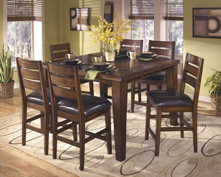 Lairecmont Casual Burnished Dark Brown Color Counter Butterfly Table Set 6 Barstools