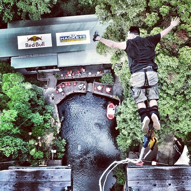 Channel your inner adrenaline junkie with an epic bungee jump at AJ Hackett Cairns. For the ultimate adrenaline and add a skydive to your Cairns experience with our Double Jump package. #SkydiveAustralia #bucketlist #summer #escape #holidays #travel #ideas #Australia