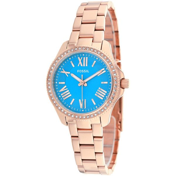 Fossil Women's AM4584 Cecile Small Round Rosegold Bracelet Watch ($120) ❤ liked on Polyvore featuring jewelry, watches, blue, rose gold bracelet, blue dial watches, crown bracelet, roman numeral bracelet and blue crown