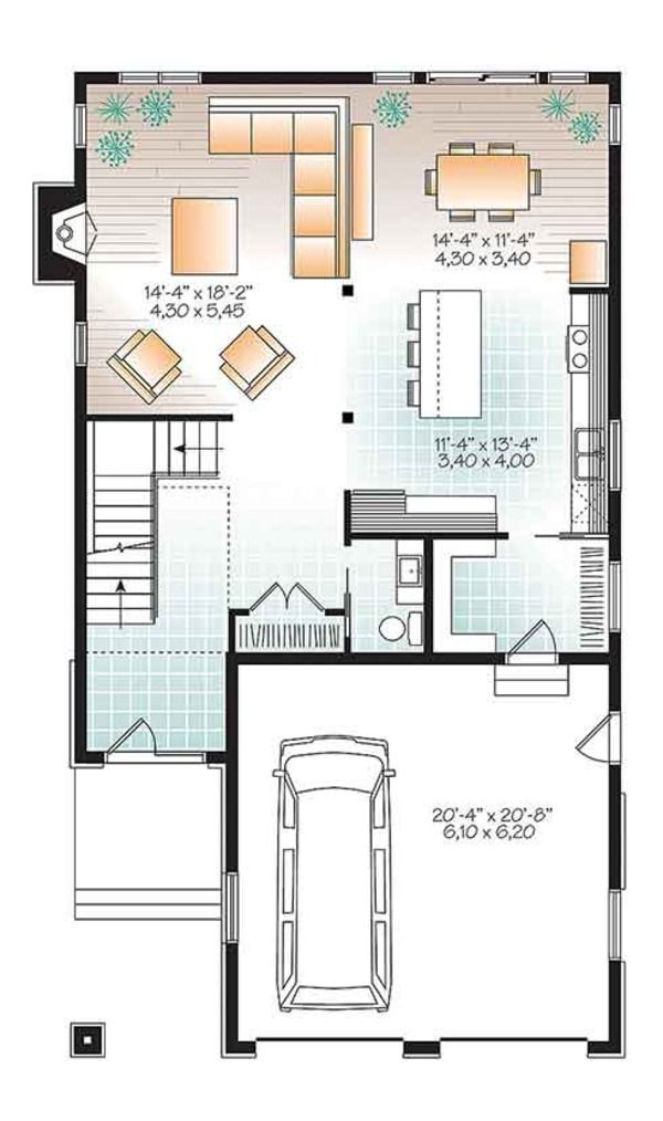 Contemporary Style House Plan 3 Beds 2 5 Baths 2288 Sq Ft Plan 23 2608 In 2020 House Plans Floor Plan Design Contemporary House Plans