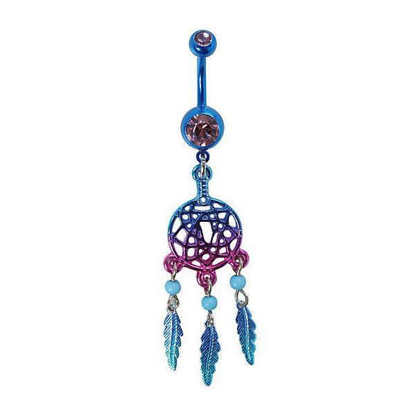 "14G 3/8"" Steel Purple And Blue Dreamcatcher Navel Barbell 