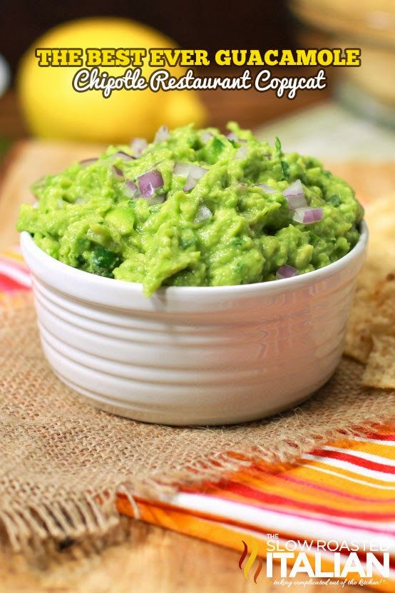 The Best Ever Guacamole - Copycat Chipotle Restaurant ~ Says: Bits of jalapeno, red onion and cilantro speckle the creamy chunks of avocado.  Citrus juices and salt complete this simple and fresh guacamole.  Trust me this is the last guacamole you will ever need to sample.