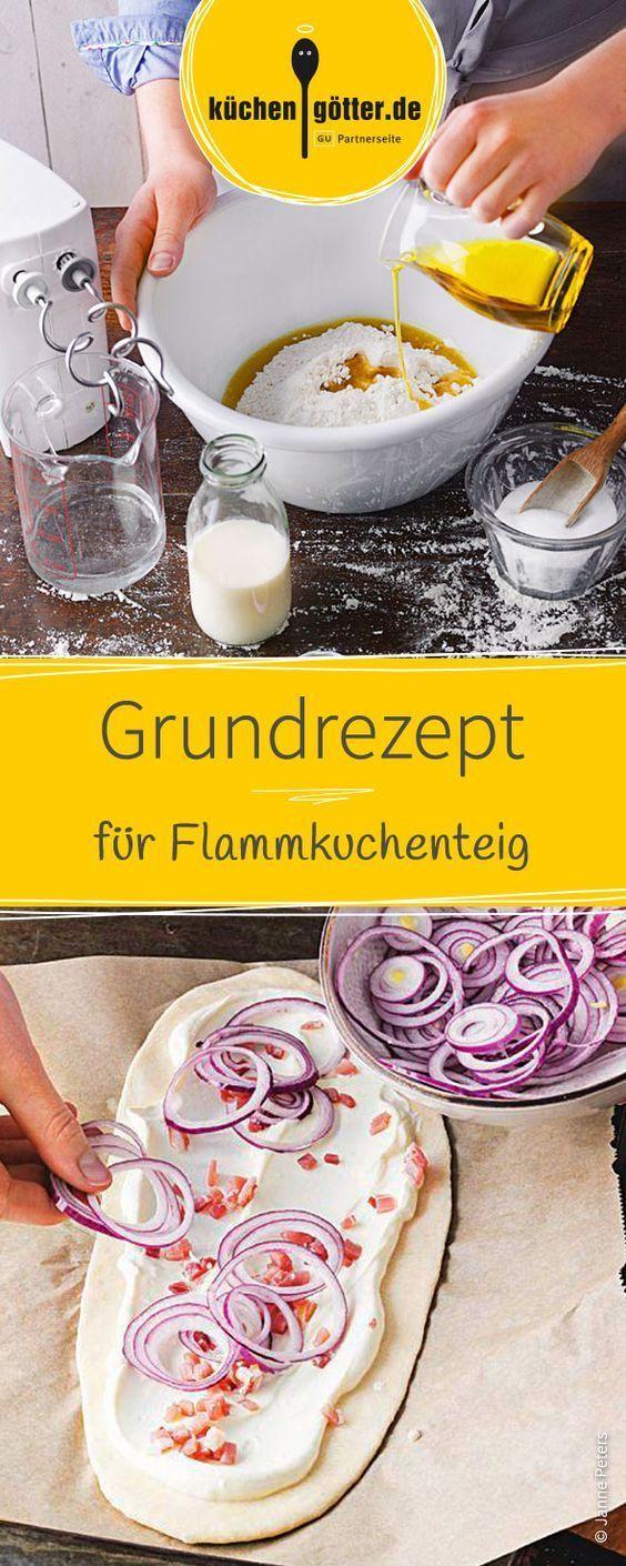 Klassisch und doch so lecker! Ob belegt mit Zwiebeln, Speck, Kartoffeln oder Fisch, mit dem richtigen Grundteig gelingt jeder Flammkuchen. Das Rezept für den Flammkuchenteig gelingt schnell und einfach.