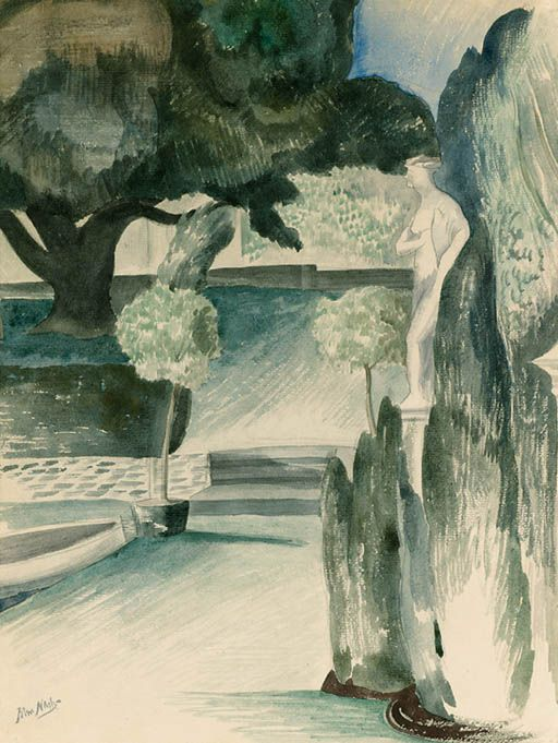"""Statue in a Garden"" by John Nash, c.1928. (Pencil and watercolour)"