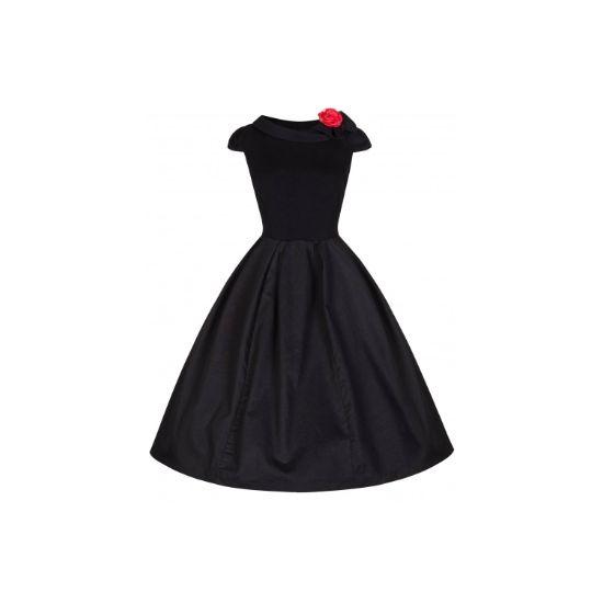 Retro šaty Lindy Bop Trixie Black Šaty ve stylu 50. let. Staňte se královnou večera! Na první pohled jednoduché, ale přitom rafinované a zajímavě řešené šaty. Černá klasika s krátkým rukávkem a zajímavě řešeným lemem u krku s mašlí, zdobeným červenou květinou (lze sundat nebo zaměnit za jinou ozdobu, součástí šatů jsou dva kusy, druhou lze použít do vlasů či na zápěstí), áčkový střih sukně doladíte k dokonalosti spodničkou z naší nabídky.