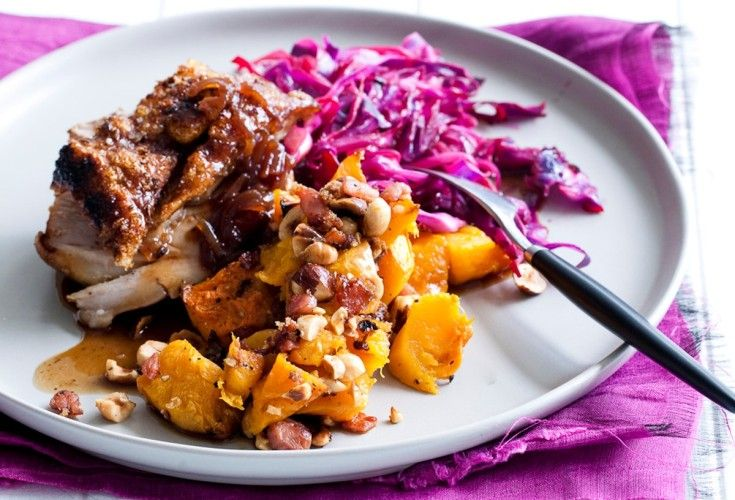 Roast Pork With Cider Gravy and Candied Butternut