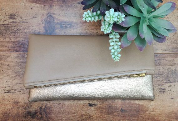Nude Clutch | Gold Clutch | Metallic Clutch | Tan Clutch | Fold Over Clutch | Tan Purse | Nude Purse | Small Purse | Handbag | Aztec |