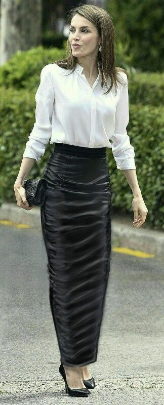 Long leather maxi pencil skirt
