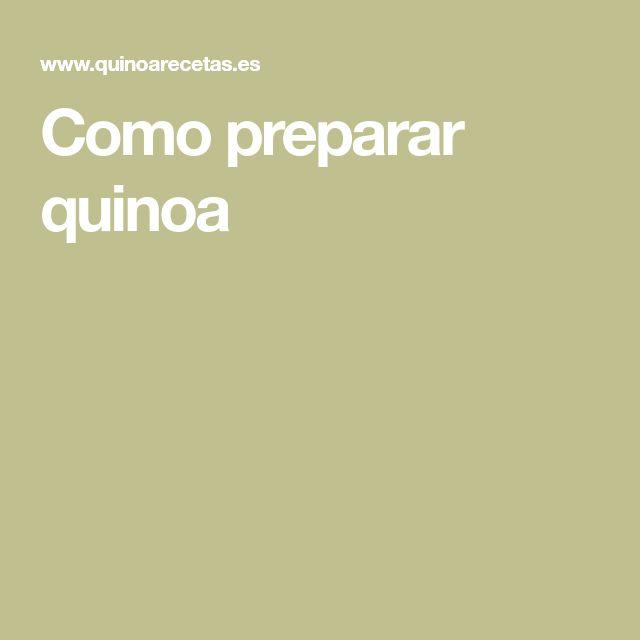 Como preparar quinoa