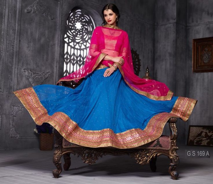Blue And Rani Color Soft Net Party Wear Lehenga Choli - ClickOnBazar