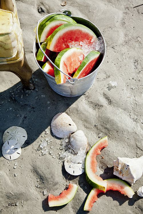 Watermelon in the sand