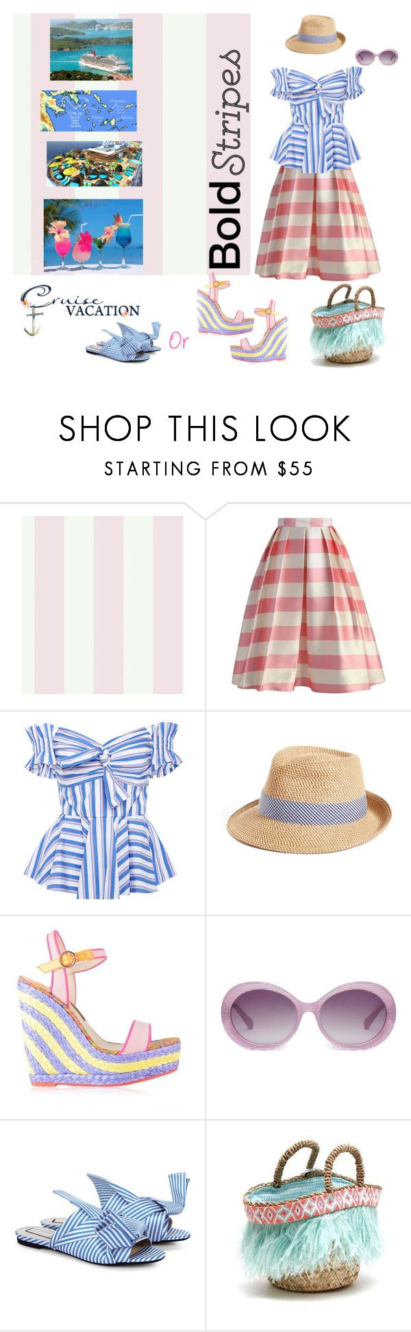 """""""BOLD Stripes...Winter cruise to some where warm"""" by deborah-518 ❤ liked on Polyvore featuring York Wallcoverings, Chicwish, Caroline Constas, Eric Javits, Sophia Webster, Heidi London, N°21, Micaela Spadoni and BoldStripes"""
