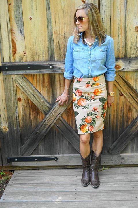 Lularoe | floral Cassie pencil skirt | chambray button-down | boots #lularoe, #cassieskirt contact me at https://www.facebook.com/groups/lularoebarbaraeby/