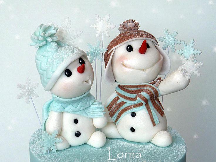 Snowmens - Cake by Lorna