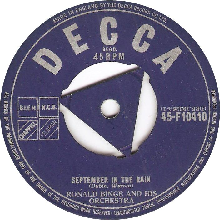 Decca 45-F10410 Ronald Binge And His Orchestra September In The Rain