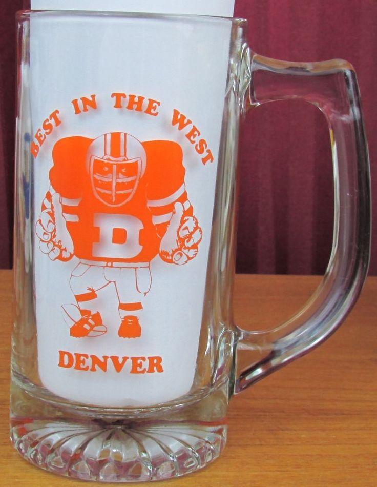 NFL 1984 Denver Broncos Playoffs Glass Beer Mug American Conference Champions #DenverBroncos