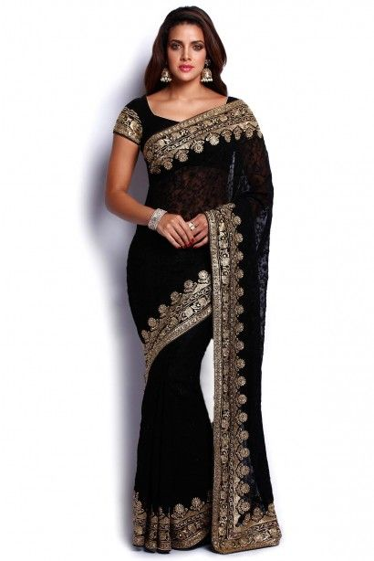 Soch Black and Gold Chiffon Saree - SSMR SR 19016 - Sarees