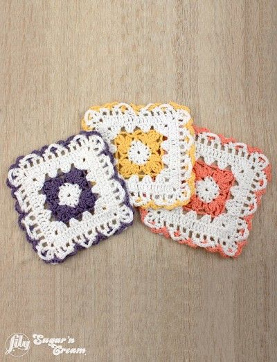 Free Crochet Patterns Lily Sugar Cream : Lacy Flower Dishcloth - free 9