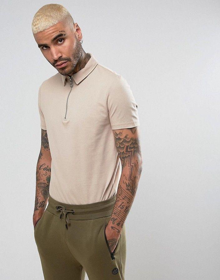 Asos Zip Neck Pique Polo Shirt In Beige