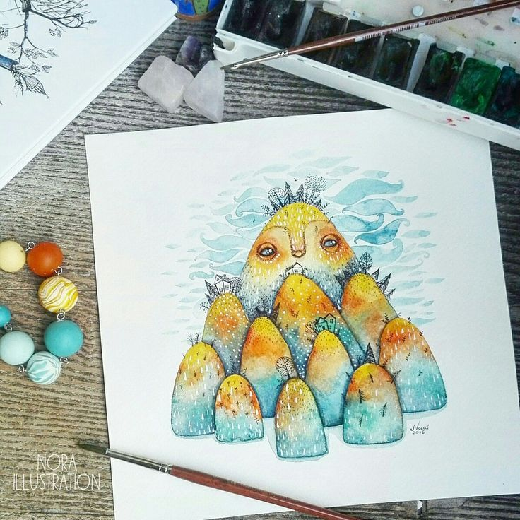 💛💙Bright yellow and light blue is one of my favorite combination of colors. This original watercolor painting now available in my shop! 😊
