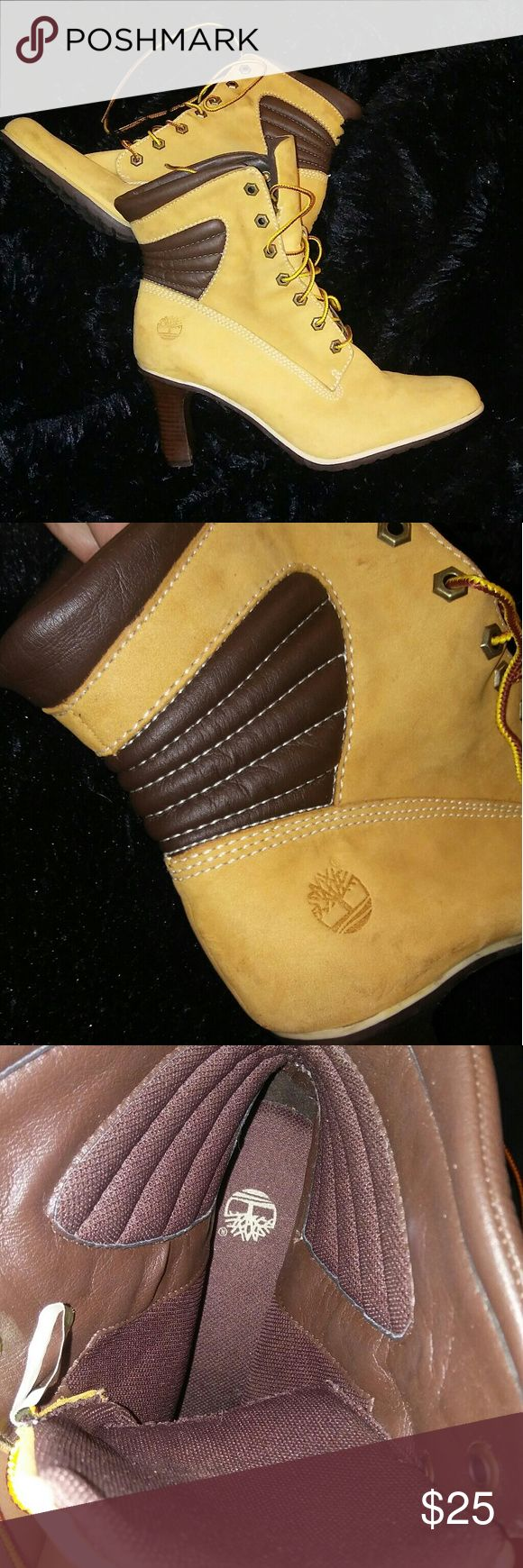 Timberland heeled boots Classic look tan and brown leather Timberland heeled boots. Used but in good condition size 10. Three inch heel makes a statement, but is still comfortable. They pair great with jeans and jumpsuits. For the trendy gal! Timberland Shoes Ankle Boots & Booties
