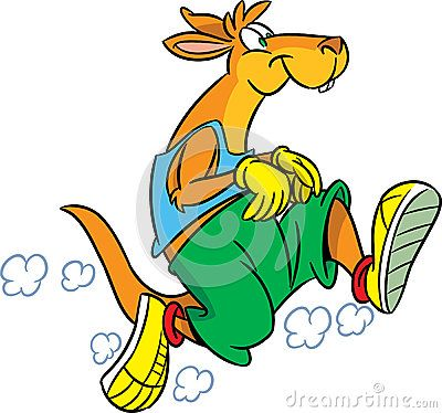 The illustration shows the kangaroo, which deals sports running. Illustration done in cartoon style isolated on white background.