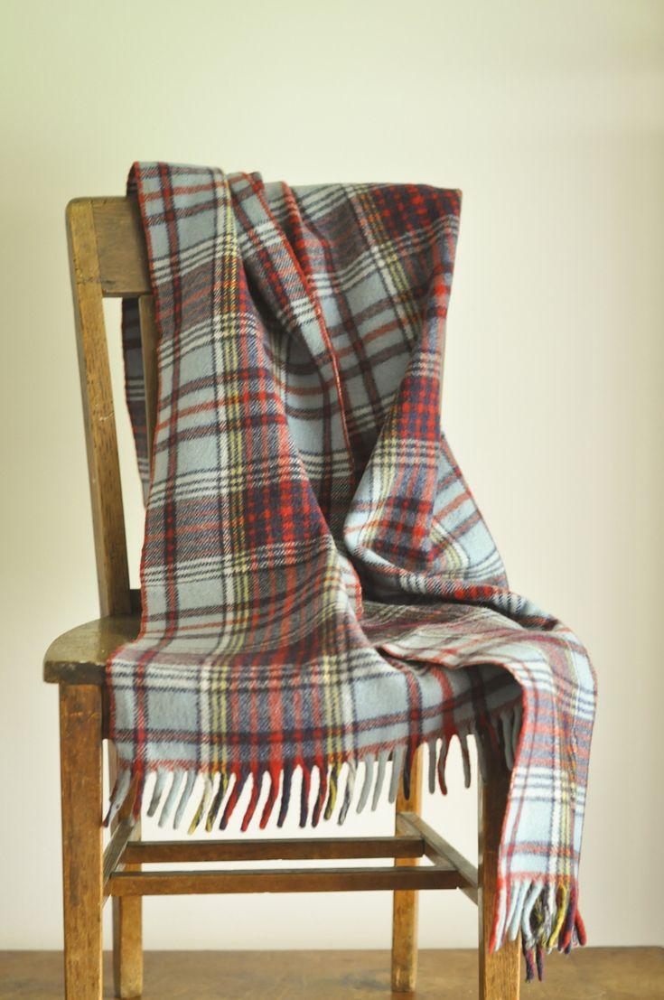 Vintage Blue Plaid Tartan Wool Throw Blanket Paris Woolen Mill Stayton Oregon Shawl or Wrap With fringe by drowsySwords on Etsy