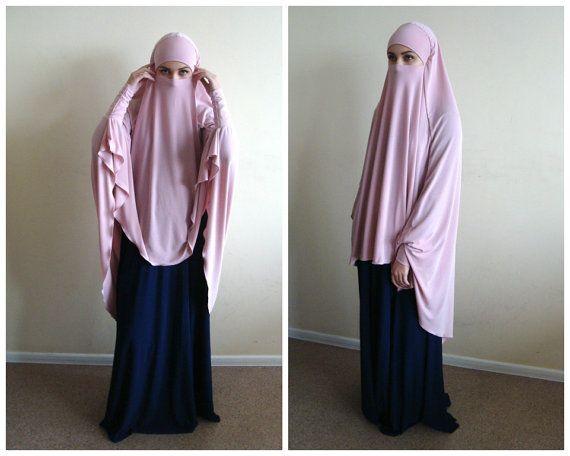 Transformer blush Khimar, Transformer light pink hijab, flamingo nikab,traditional hijab, ready to wear hijab, prayer scarf,long hijab burqa